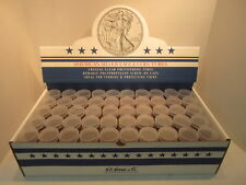 Box Of 100 American Silver Eagle Dollar Round Coin Tubes Clear Polystyrene 40MM