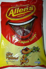 Allens Lollies Killer Pythons 1kg BULK Bag