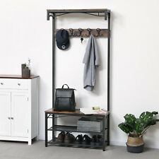 Hall Tree Hat and Coat Stand Hallway Shoe Rack Bench with Shelves Hooks HSR45BX