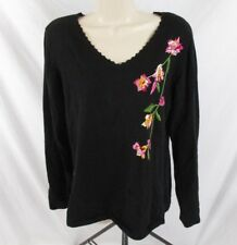 Susan Graver Womens V-Neck Sweater Black Embroidered Floral Sz S Pull Over CB79Q