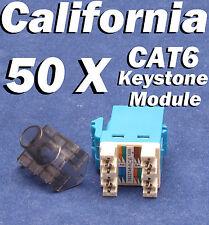 50 Pcs LOT Keystone 8P8C CAT6 RJ45 Network 110 Style Socket Punch Down Jack Blue