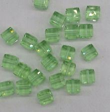 12pc Swarovski Crystal Chrysolite 4mm Cube 5601 Beads; Faceted Square; Lt Green
