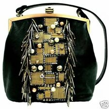 Mary Frances Black Faux Leather Gear Up Beaded Pearl Embellished Handbag New