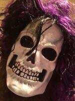 VTG Easter Unlimited Skull Skeleton Halloween Mask With Purple & Black Hair VHTF
