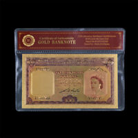 WR Colourized 1953 Malaya & British Borneo QEII $100 Gold Foil Dollar Banknote