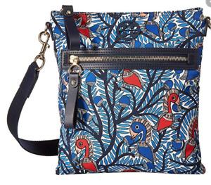 NEW Tory Burch Tilda Blue Wild Printed Swingpack Crossbody Zip Strap Purse Logo