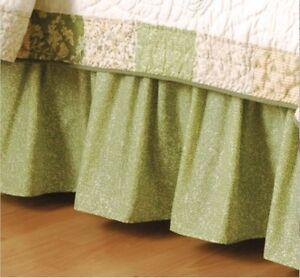GREEN FERN LEAF King BEDSKIRT : COTTAGE BOTANICAL PALM VALLEY RUFFLE BED SKIRT