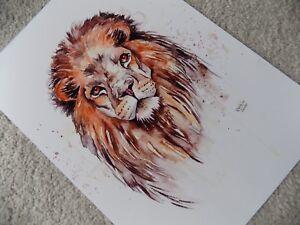 A4 PRINT Of LION Watercolour Painting, Wildlife/Bird/Animal/Cat Art, Lisa WU