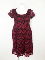 Torrid Women's Black & Red Lace Floral Short Sleeve Pocket Dress Size 0 Large