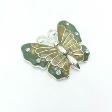 Silver Tone and Green Enamel with Rhinestones Butterfly Brooch Pin