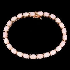 Unheated Oval Pink Opal 7x5mm 14K Rose Gold Plate 925 Sterling Silver Bracelet