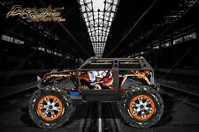 "TRAXXAS SUMMIT GRAPHICS WRAP DECALS ""STIFF UPPER LIP"" FOR OEM BODY PARTS ORANGE"