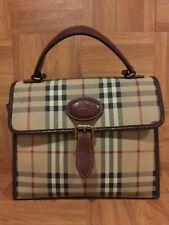 VTG❤️ Burberry Handbag Flap Bag Haymarket Check Made In Italy Leather