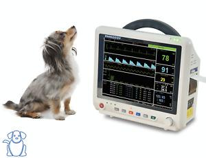 """Veterinary 12"""" Multi-parameters Monitor PM5000V ECG RESP SpO2 NIBP TEMP PR ETCO2"""