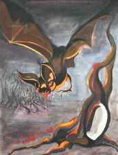 1993 Surrealist gouache painting vampire bat signed