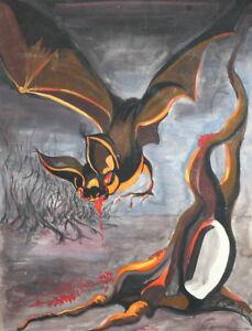 1993 Surrealist gouache painting vampire bat signed