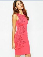 Lipsy 10 Michelle Keegan Pink Mesh Floral Embroidered Bodycon Dress BNWT