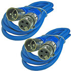 2 PACK BLUE 3 ft foot XLR pin male to female shielded mic microphone cable cord