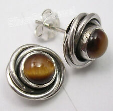 925 STERLING Silver BROWN TIGER EYE SPIRAL KNOT GORGEOUS Studs Earrings 0.4 Inch