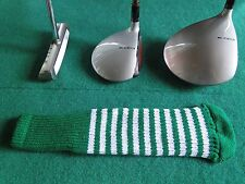 Knitted zebra style Fairway & Driver Golf Club head cover Kelly Green / White