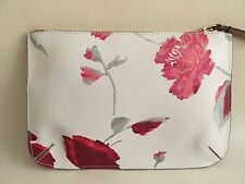NEW Banana Republic Faux Leather Floral Daisy Zip Pouch Clutch Handbag Purse NWT