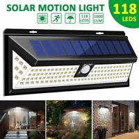 118 LED Solar Power PIR Motion Sensor Wall Light Outdoor Garden Lamp Waterproof