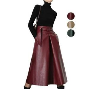 Ladies Women A-Line Skirts Faux Leather High Waist Slim Retro Long Skirts Feng8