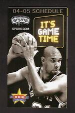 San Antonio Spurs--Tim Duncan--2004-05 Pocket Schedule--WOAI