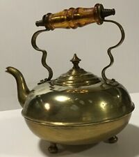 Antique brass teapot with vintage amber glass handle - footed tea kettle