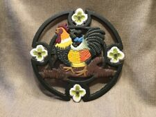 Rooster and Flowers Cast Iron Trivet 7""