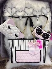 Betsey Johnson Pullout Kitty Cat Pouch Stripe Purse Tote & Wallet on a String