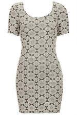Topshop Petite Tile Jacquard Bodycon Dress - Monochrome - Size 12 - RRP £30