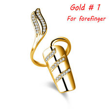New Women Silver Gold Plated Nail Ring Crown Flower Crystal Finger Nail Ring