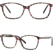 Thin Light Women's Plastic Frames Spring Hinges Glasses Floral Flower Black Pink