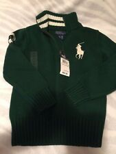 RALPH LAUREN BOYS SWEATER HOLIDAY GREEN BIG HORSE SIZE 5 NEW