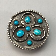Vintage sterling silver turquoise Native American bolo tie piece 31.7g
