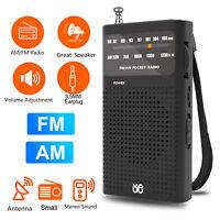 Mini Portable Pocket AM FM Radio Battery Powered Receiver w/ Telescopic Antenna