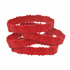 Red Awareness Ribbon Pop-Out Rubber Bracelets - Jewelry - 24 Pieces