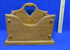 Wood Recipe Box Hand Crafted Holder Storage Mail Napkins Bills Heart Cut Out