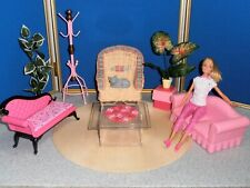 LOT OF BARBIE WITH FURNITURE AND ACCESSORIES!
