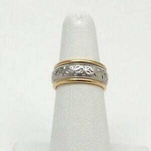 Retro Deco Art Carved JR Wood 14k Gold 8mm Floral Spinner Wedding Band Ring Sz6