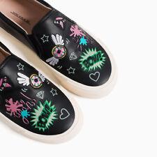 ZARA Girl's Black Slip On Fun Patch Work Sneakers Shoes Size US 3