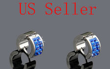 1Pair 316L Stainless Steel Crystal Men s Hoop Stud Earrings 003
