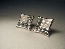 Gorgeous 14K White Gold Blue Pave Diamond Square Earrings