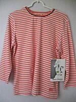 OLEG CASSINI SPORT Top Large 3/4 Sleeve Peach Orange White Striped Pullover NWT