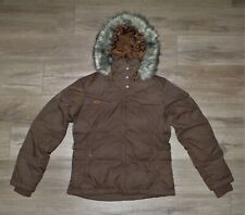 Women's COLUMBIA XCO Cross Country Down Fill Fur Hooded Jacket Coat Small Brown