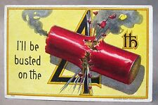 1908 Julius Bien # 7005 I'Ll Be Busted On The 4th (of July) embossed postcard