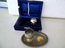 Vintage 3 Piece Brass Cordial Set And Case