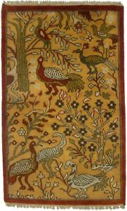 One of a Kind Pictorial Design Chobi 3X5 Small Size Oriental Rug Home Carpet