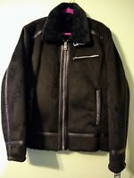 GUESS Men's Faux Suede Aviator Jacket, Black, Sz Large NWT 117AS940, MSRP $325